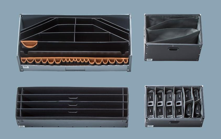 Sequenzteilbehälter, Gefache, Transportbehälter aus Textil und Kunstoff